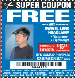 Harbor Freight FREE Coupon HEADLAMP WITH SWIVEL LENS Lot No. 45807/61319/63598/62614 Expired: 10/1/18 - FWP