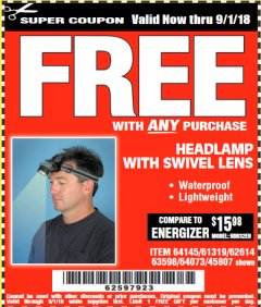 Harbor Freight FREE Coupon HEADLAMP WITH SWIVEL LENS Lot No. 45807/61319/63598/62614 Expired: 9/1/18 - FWP