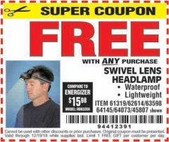 Harbor Freight FREE Coupon HEADLAMP WITH SWIVEL LENS Lot No. 45807/61319/63598/62614 Expired: 12/19/18 - FWP