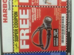 Harbor Freight FREE Coupon HEADLAMP WITH SWIVEL LENS Lot No. 45807/61319/63598/62614 Expired: 3/26/19 - FWP