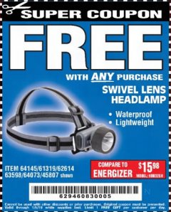 Harbor Freight FREE Coupon HEADLAMP WITH SWIVEL LENS Lot No. 45807/61319/63598/62614 Expired: 1/5/19 - FWP