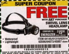 Harbor Freight FREE Coupon HEADLAMP WITH SWIVEL LENS Lot No. 45807/61319/63598/62614 Expired: 2/16/19 - FWP