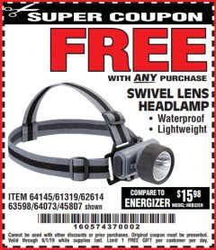 Harbor Freight FREE Coupon HEADLAMP WITH SWIVEL LENS Lot No. 45807/61319/63598/62614 Expired: 6/1/19 - FWP