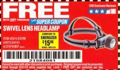 Harbor Freight FREE Coupon HEADLAMP WITH SWIVEL LENS Lot No. 45807/61319/63598/62614 Expired: 5/31/19 - FWP