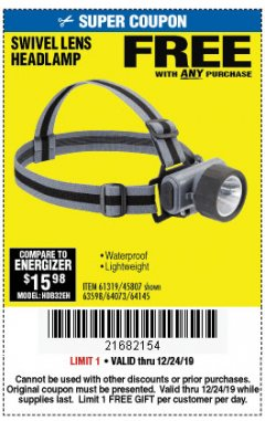 Harbor Freight FREE Coupon HEADLAMP WITH SWIVEL LENS Lot No. 45807/61319/63598/62614 Expired: 12/24/19 - FWP