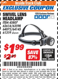 Harbor Freight ITC Coupon HEADLAMP WITH SWIVEL LENS Lot No. 45807/61319/63598/62614 Expired: 3/31/19 - $1.99