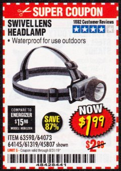 Harbor Freight Coupon HEADLAMP WITH SWIVEL LENS Lot No. 45807/61319/63598/62614 Expired: 8/31/19 - $1.99