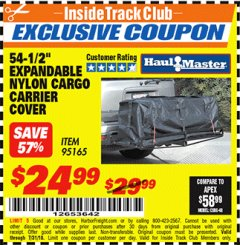 "Harbor Freight ITC Coupon 54-1/2"" EXPANDABLE NYLON CARGO CARRIER COVER Lot No. 95165 Expired: 7/31/18 - $24.99"
