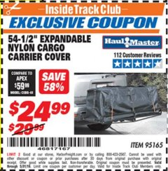 "Harbor Freight ITC Coupon 54-1/2"" EXPANDABLE NYLON CARGO CARRIER COVER Lot No. 95165 Expired: 5/31/19 - $24.99"