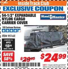 "Harbor Freight ITC Coupon 54-1/2"" EXPANDABLE NYLON CARGO CARRIER COVER Lot No. 95165 Valid Thru: 6/30/20 - $24.99"
