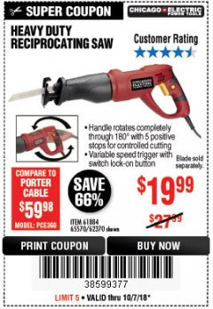 Harbor Freight Coupon 6 AMP HEAVY DUTY RECIPROCATING SAW Lot No. 61884/65570/62370 Expired: 10/7/18 - $19.99