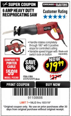 Harbor Freight Coupon 6 AMP HEAVY DUTY RECIPROCATING SAW Lot No. 61884/65570/62370 Expired: 10/21/18 - $19.99