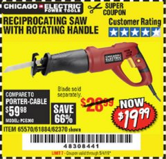 Harbor Freight Coupon 6 AMP HEAVY DUTY RECIPROCATING SAW Lot No. 61884/65570/62370 Expired: 5/4/19 - $19.99