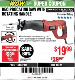 Harbor Freight Coupon 6 AMP HEAVY DUTY RECIPROCATING SAW Lot No. 61884/65570/62370 Expired: 4/21/19 - $19.99