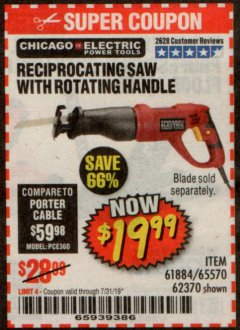 Harbor Freight Coupon 6 AMP HEAVY DUTY RECIPROCATING SAW Lot No. 61884/65570/62370 Expired: 7/31/19 - $19.99