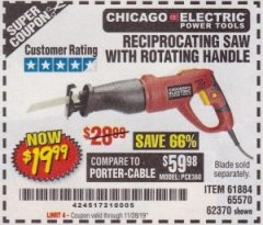 Harbor Freight Coupon 6 AMP HEAVY DUTY RECIPROCATING SAW Lot No. 61884/65570/62370 Expired: 8/31/19 - $19.99