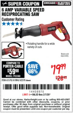Harbor Freight Coupon 6 AMP HEAVY DUTY RECIPROCATING SAW Lot No. 61884/65570/62370 Expired: 2/7/20 - $19.99