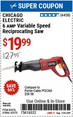 Harbor Freight Coupon 6 AMP HEAVY DUTY RECIPROCATING SAW Lot No. 61884/65570/62370 Valid Thru: 7/15/20 - $19.99