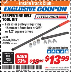 Harbor Freight ITC Coupon SERPENTINE BELT TOOL KIT Lot No. 63077/66344/63689 Valid: 2/1/20 - 2/29/20 - $13.99