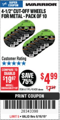 "Harbor Freight Coupon WARRIOR 4-1/2"" CUT-OFF WHEELS FOR METAL - PACK OF 10 Lot No. 61195/45430 Expired: 6/16/19 - $4.99"