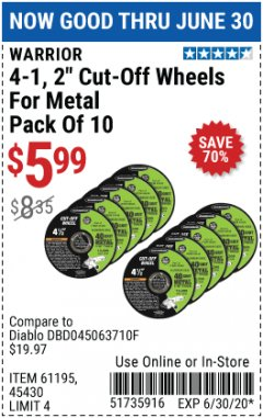 "Harbor Freight Coupon WARRIOR 4-1/2"" CUT-OFF WHEELS FOR METAL - PACK OF 10 Lot No. 61195/45430 Expired: 6/30/20 - $5.99"