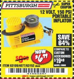Harbor Freight Coupon 12 VOLT, 150 PSI PORTABLE INFLATOR Lot No. 63109/4077/63152 Expired: 12/1/18 - $6.99