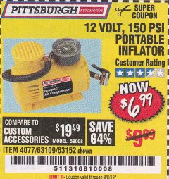 Harbor Freight Coupon 12 VOLT, 150 PSI PORTABLE INFLATOR Lot No. 63109/4077/63152 Expired: 8/8/19 - $6.99