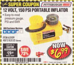 Harbor Freight Coupon 12 VOLT, 150 PSI PORTABLE INFLATOR Lot No. 63109/4077/63152 Expired: 11/30/19 - $6.99