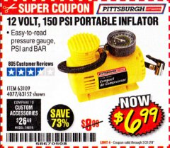 Harbor Freight Coupon 12 VOLT, 150 PSI PORTABLE INFLATOR Lot No. 63109/4077/63152 Expired: 3/31/20 - $6.99