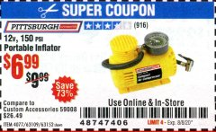 Harbor Freight Coupon 12 VOLT, 150 PSI PORTABLE INFLATOR Lot No. 63109/4077/63152 Expired: 8/8/20 - $6.99