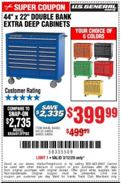"Harbor Freight ITC Coupon 44"" X 22"" DOUBLE BANK EXTRA DEEP ROLLER CABINETS Lot No. 64444/64445/64446/64441/64442/64443/64281/64134/64133/64954/64955/64956 Expired: 3/12/20 - $399.99"