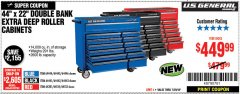 "Harbor Freight Coupon 44"" X 22"" DOUBLE BANK EXTRA DEEP ROLLER CABINETS Lot No. 64444/64445/64446/64441/64442/64443/64281/64134/64133/64954/64955/64956 Expired: 7/29/18 - $449.99"