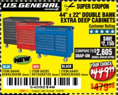 "Harbor Freight Coupon 44"" X 22"" DOUBLE BANK EXTRA DEEP ROLLER CABINETS Lot No. 64444/64445/64446/64441/64442/64443/64281/64134/64133/64954/64955/64956 Expired: 12/9/18 - $449.99"