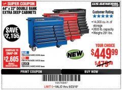 "Harbor Freight Coupon 44"" X 22"" DOUBLE BANK EXTRA DEEP ROLLER CABINETS Lot No. 64444/64445/64446/64441/64442/64443/64281/64134/64133/64954/64955/64956 Expired: 9/23/18 - $449.99"