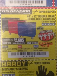 "Harbor Freight Coupon 44"" X 22"" DOUBLE BANK EXTRA DEEP ROLLER CABINETS Lot No. 64444/64445/64446/64441/64442/64443/64281/64134/64133/64954/64955/64956 Expired: 1/17/19 - $449.99"