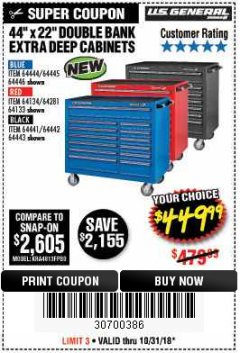"Harbor Freight Coupon 44"" X 22"" DOUBLE BANK EXTRA DEEP ROLLER CABINETS Lot No. 64444/64445/64446/64441/64442/64443/64281/64134/64133/64954/64955/64956 Expired: 10/31/18 - $449.99"