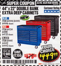 "Harbor Freight Coupon 44"" X 22"" DOUBLE BANK EXTRA DEEP ROLLER CABINETS Lot No. 64444/64445/64446/64441/64442/64443/64281/64134/64133/64954/64955/64956 Expired: 11/30/18 - $449.99"