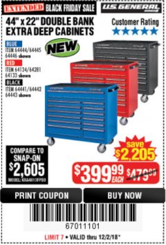 "Harbor Freight Coupon 44"" X 22"" DOUBLE BANK EXTRA DEEP ROLLER CABINETS Lot No. 64444/64445/64446/64441/64442/64443/64281/64134/64133/64954/64955/64956 Expired: 12/2/18 - $399"
