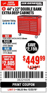 "Harbor Freight Coupon 44"" X 22"" DOUBLE BANK EXTRA DEEP ROLLER CABINETS Lot No. 64444/64445/64446/64441/64442/64443/64281/64134/64133/64954/64955/64956 Expired: 12/23/18 - $449.99"