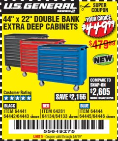 "Harbor Freight Coupon 44"" X 22"" DOUBLE BANK EXTRA DEEP ROLLER CABINETS Lot No. 64444/64445/64446/64441/64442/64443/64281/64134/64133/64954/64955/64956 Expired: 4/6/19 - $449.99"