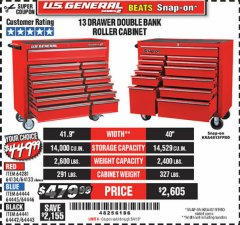 "Harbor Freight Coupon 44"" X 22"" DOUBLE BANK EXTRA DEEP ROLLER CABINETS Lot No. 64444/64445/64446/64441/64442/64443/64281/64134/64133/64954/64955/64956 Expired: 5/4/19 - $449.99"