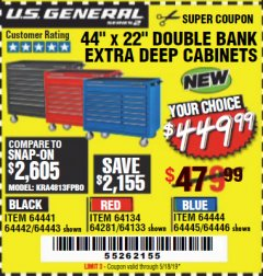 "Harbor Freight Coupon 44"" X 22"" DOUBLE BANK EXTRA DEEP ROLLER CABINETS Lot No. 64444/64445/64446/64441/64442/64443/64281/64134/64133/64954/64955/64956 Expired: 5/18/19 - $449.99"