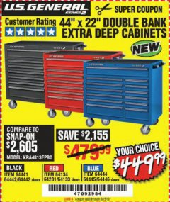 "Harbor Freight Coupon 44"" X 22"" DOUBLE BANK EXTRA DEEP ROLLER CABINETS Lot No. 64444/64445/64446/64441/64442/64443/64281/64134/64133/64954/64955/64956 Expired: 6/15/19 - $449.99"