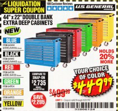 "Harbor Freight Coupon 44"" X 22"" DOUBLE BANK EXTRA DEEP ROLLER CABINETS Lot No. 64444/64445/64446/64441/64442/64443/64281/64134/64133/64954/64955/64956 Expired: 5/31/19 - $449.99"