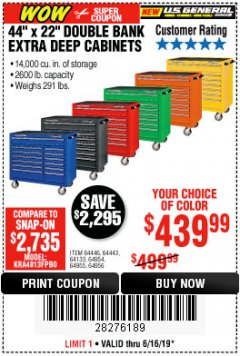 "Harbor Freight Coupon 44"" X 22"" DOUBLE BANK EXTRA DEEP ROLLER CABINETS Lot No. 64444/64445/64446/64441/64442/64443/64281/64134/64133/64954/64955/64956 Expired: 6/16/19 - $439.99"