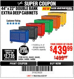 "Harbor Freight Coupon 44"" X 22"" DOUBLE BANK EXTRA DEEP ROLLER CABINETS Lot No. 64444/64445/64446/64441/64442/64443/64281/64134/64133/64954/64955/64956 Expired: 6/23/19 - $439.99"