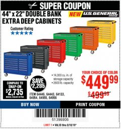 "Harbor Freight Coupon 44"" X 22"" DOUBLE BANK EXTRA DEEP ROLLER CABINETS Lot No. 64444/64445/64446/64441/64442/64443/64281/64134/64133/64954/64955/64956 Expired: 8/18/19 - $449.99"