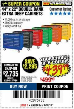 "Harbor Freight Coupon 44"" X 22"" DOUBLE BANK EXTRA DEEP ROLLER CABINETS Lot No. 64444/64445/64446/64441/64442/64443/64281/64134/64133/64954/64955/64956 Expired: 9/30/19 - $439.99"