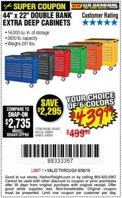 "Harbor Freight Coupon 44"" X 22"" DOUBLE BANK EXTRA DEEP ROLLER CABINETS Lot No. 64444/64445/64446/64441/64442/64443/64281/64134/64133/64954/64955/64956 Expired: 9/30/19 - $439.989999999"