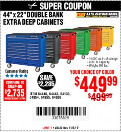 "Harbor Freight Coupon 44"" X 22"" DOUBLE BANK EXTRA DEEP ROLLER CABINETS Lot No. 64444/64445/64446/64441/64442/64443/64281/64134/64133/64954/64955/64956 Expired: 11/3/19 - $449.99"